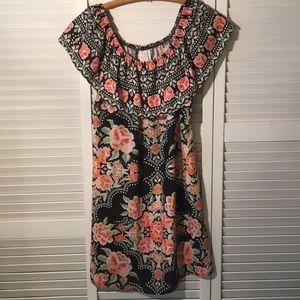 Becca Off Shoulder Dress in Black and Floral. SZ S
